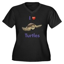 I-love-turtl Women's Plus Size Dark V-Neck T-Shirt
