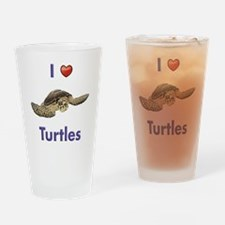 I-love-turtles-tall Drinking Glass