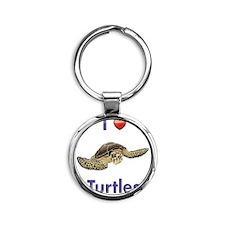 I-love-turtles-tall Round Keychain