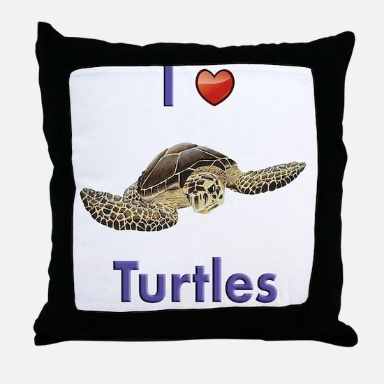 I-love-turtles-tall Throw Pillow