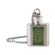 Celtic Shamrock In Green and Gold - Flask Necklace
