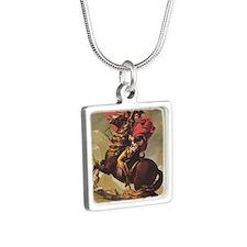 Jacques-Louis_David_Napole Silver Square Necklace