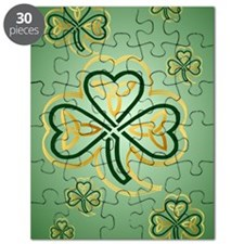 LargePoster Gold and Green Shamrocks Puzzle