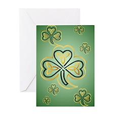 LargePoster Gold and Green Shamrocks Greeting Card