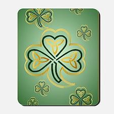 LargePoster Gold and Green Shamrocks Mousepad