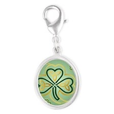LargePoster Gold and Green Sham Silver Oval Charm