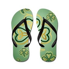 LargePoster Gold and Green Shamrocks Flip Flops