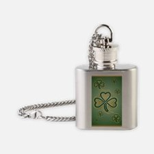 LargePoster Gold and Green Shamrock Flask Necklace