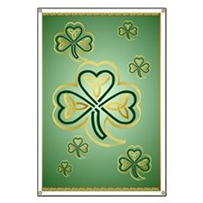 LargePoster Gold and Green Shamrocks Banner