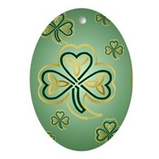 LargePoster Gold and Green Shamrocks Oval Ornament