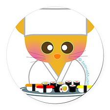 sushi chef cat2 Round Car Magnet