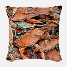 snow crabs wider Woven Throw Pillow