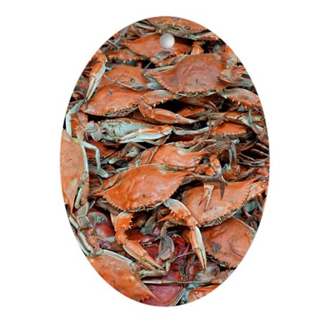 snow crabs wide Oval Ornament