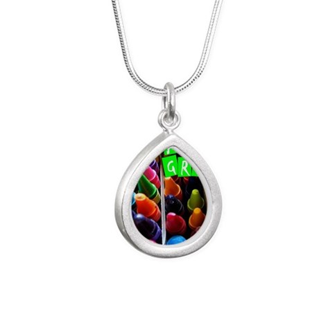 crayons copy Silver Teardrop Necklace