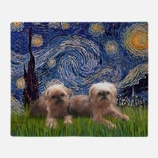 Starry Night - Two Brussells Griffon Throw Blanket