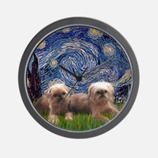 Starry Night - Two Brussells Griffon -  Wall Clock