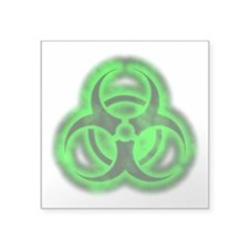 "glowingBiohazardGreenTCrop Square Sticker 3"" x 3"""