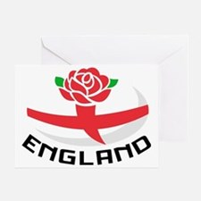 Rugby England English Rose Ball Flag Greeting Card
