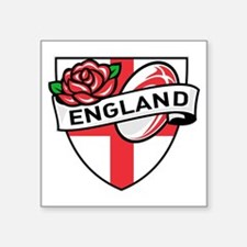 "Rugby England English Rose  Square Sticker 3"" x 3"""