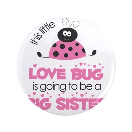 """MASTER BUGS - ladybug and bees pink sm 3.5"""" Button"""