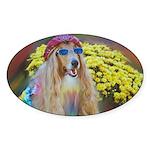 Flower Child Collie Oval Sticker