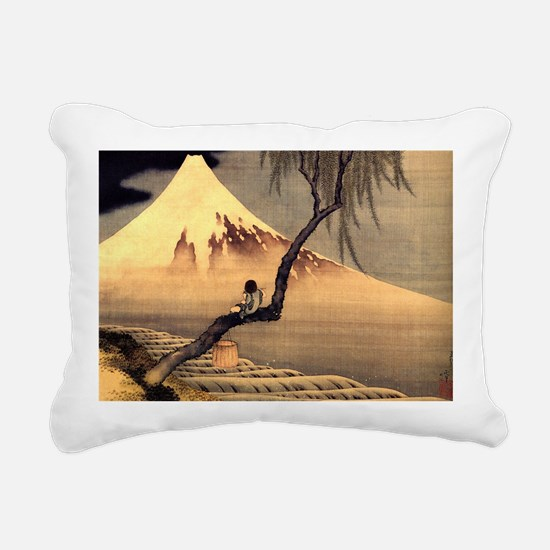 Boy in front of Fujiama. Rectangular Canvas Pillow