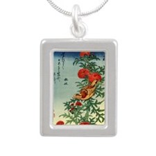 Crossbill on a Thistle.p Silver Portrait Necklace