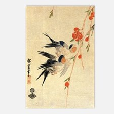 Swallow and peach flowers Postcards (Package of 8)