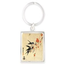 Swallow and peach flowers.travel Portrait Keychain