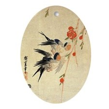 Swallow and peach flowers.travel.p3 Oval Ornament