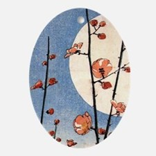 Blooming plum tree moon.p3 Oval Ornament