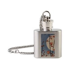 Blooming plum tree moon.p3 Flask Necklace