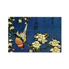 Bullfinch and drooping cherry.mou Rectangle Magnet