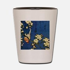 Bullfinch and drooping cherry.mouse Shot Glass