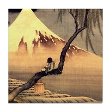 Boy in front of Fujiama.mouse Tile Coaster