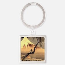 Boy in front of Fujiama.mouse Square Keychain
