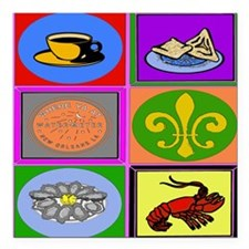 "New Orleans Symbols 2asq Square Car Magnet 3"" x 3"""