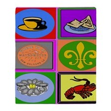 New Orleans Symbols 2asq Throw Blanket