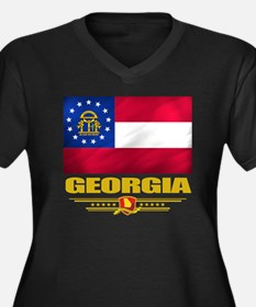 Georgia (Fla Women's Plus Size Dark V-Neck T-Shirt