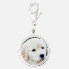 Golden Retriever Puppy Earring Silver Round Charm