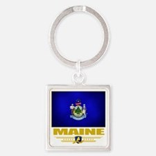 Maine (Flag 10) Square Keychain