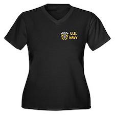 U.S. Navy Women's Plus Size V-Neck Dark T-Shirt
