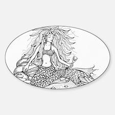 mermaid bw Decal