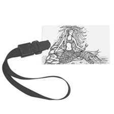 mermaid bw Luggage Tag