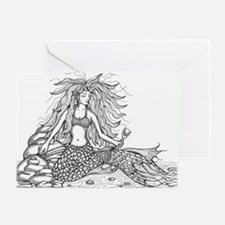 mermaid bw Greeting Card
