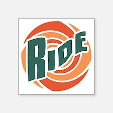 """ride-swirl-T Square Sticker 3"""" x 3"""""""