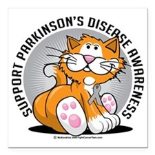 """Parkinsons-Disease-Cat Square Car Magnet 3"""" x 3"""""""