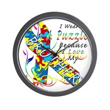 I Wear A Puzzle Because I Love My Broth Wall Clock