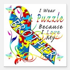 "I Wear A Puzzle Because  Square Car Magnet 3"" x 3"""