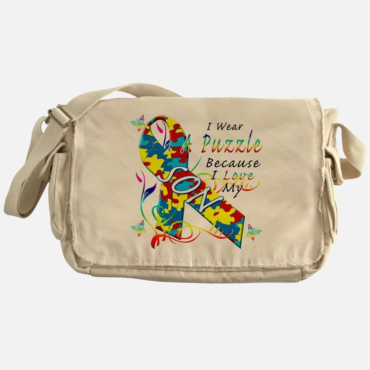 I Wear A Puzzle Because I Love My So Messenger Bag